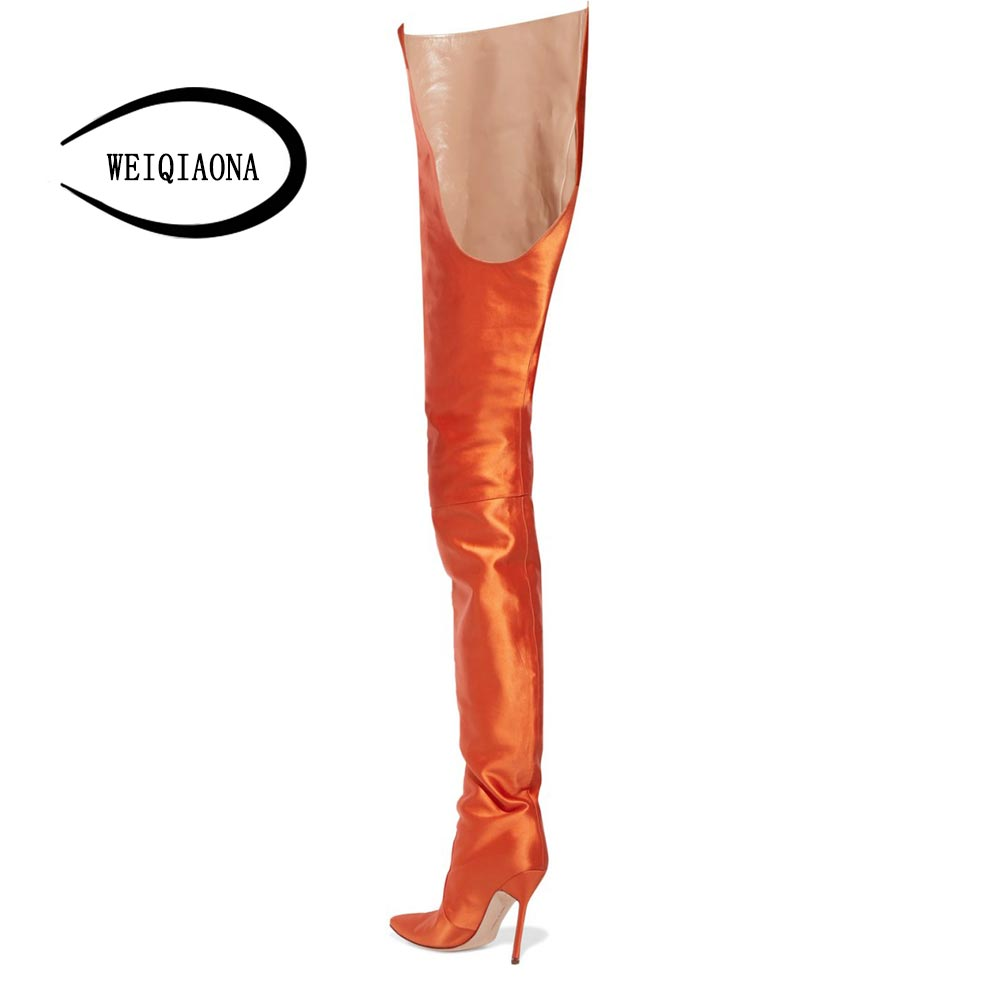 04d5cb9a081 WEIQIAONA 2019 New Women Shoes Sexy Silk Orange Western High Boots Riding  Boots Pointed Toe Ladies Shoes-in Over-the-Knee Boots from Shoes on  Aliexpress.com ...