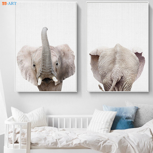 Safari Animal Canvas Painting Elephant Posters And Prints Kids Room Wall Art Pictures Nursery Decor Baby