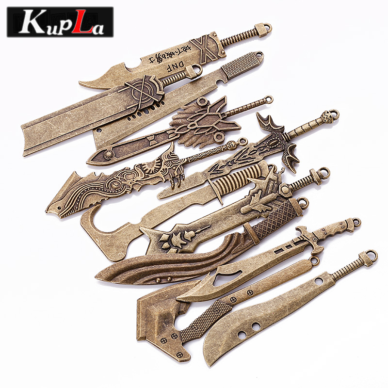 Kupla Vintage Big Sword Charms DIY Fashion Knife Charms Metal Trendy Weapons Sword Charms for Jewelry Making 12pcs/lot C5611