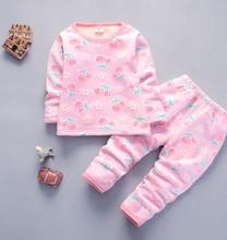 Купить с кэшбэком Children Clothing Set 2019 Winter Baby Girl Boys Clothes Thicken Boys Girls Warm Underwear with Cashmere Kids Pajamas QHD008