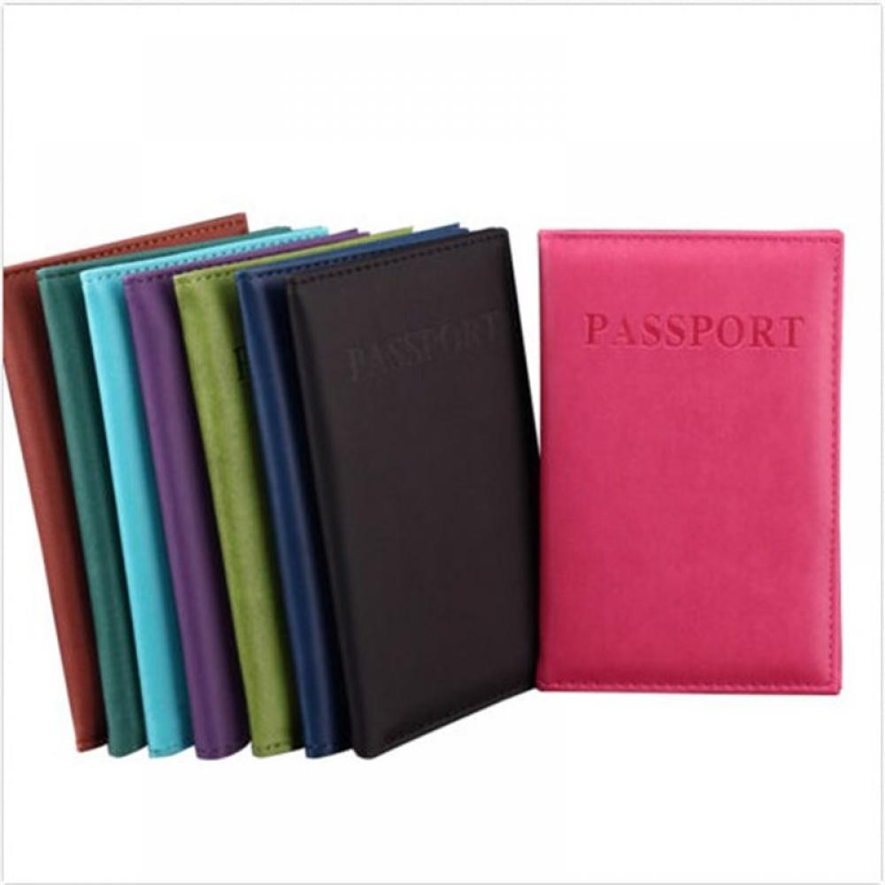 Travel Utility Simple Passport ID Credit Card Solid Color Cover Holder Case Protector Skin Leather Women Men Travel Accessories