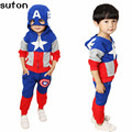 2017 New Arrival Boys Girls Clothes Suit Pentacle Star Letter Captain America Zipper Jacket + Pants 2pcs/set Children Kids Set