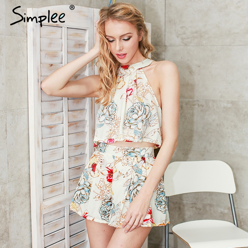 Simplee Flower print chiffon elegant jumpsuit romper Ruffle halter summer beach playsuit Sexy sleeveless short women