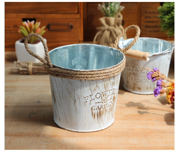 1pc Vintage Pastoral Style Metal Vases Artificial Flower Pots Craft For Storage Home Decor