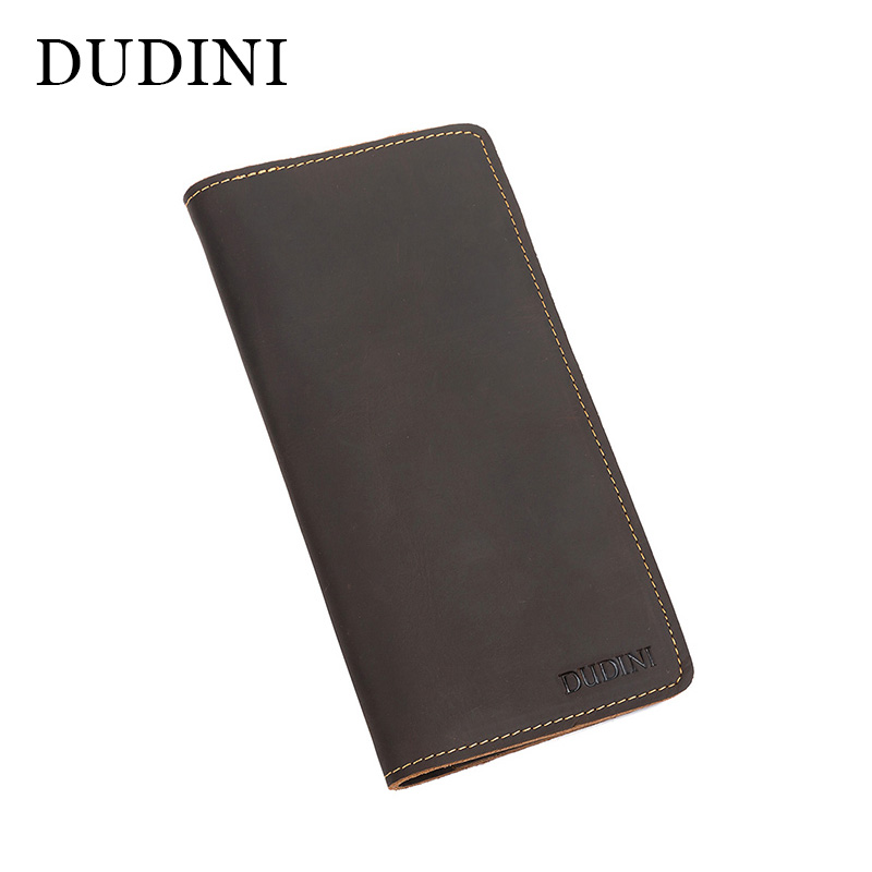 [DUDINI] Men Genuine Leather Wallets Purse Business Vintage Card Holder Male Clutch Long Organizer Money Bag Cow Handmade Wallet anime fairy tail wallet cosplay school students money bag children card holder case portefeuille homme purse wallets
