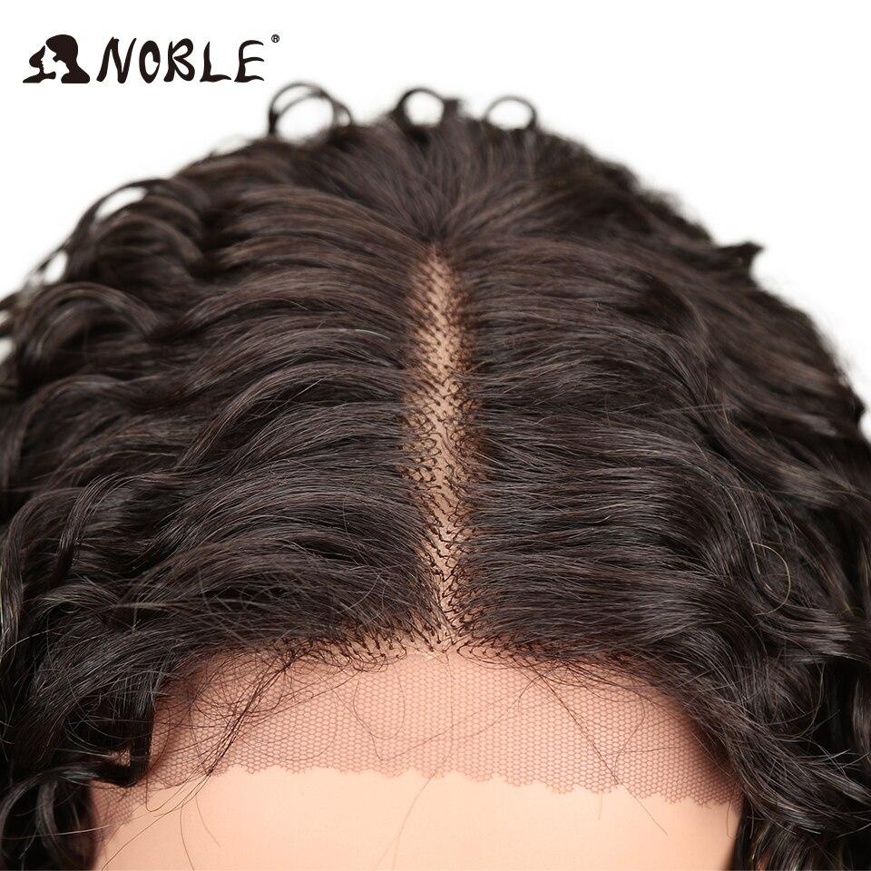 Noble Kinky Curly Mjuk Lång 30 tums Natur Svart Guld Snörning Fram - Syntetiskt hår - Foto 5