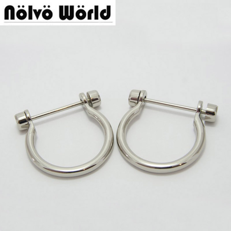 30pcs 32 40mm 1 1 4 inside width bags small handle hook silver color screw open
