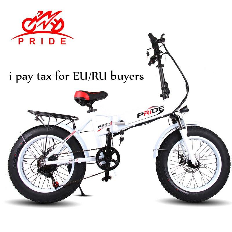 Fierté Électrique vélo 20 En Aluminium Pliable Vélo électrique 48 V LithiumBattery 350 W 6 Vitesse Électrique Fat Tire bike et montagne e vélo