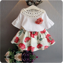 Children Clothing 2019 Summer Toddler Girl Clothes Flower T-shirt+Print Dress 2PCS Kids Clothes For Girls Suit 3 4 5 6 7 8 Years clothing sets children baby 2pcs clothes girls summer t shirts dress 2pcs girls clothes for age 2 3 4 5 6 years kids sport suit