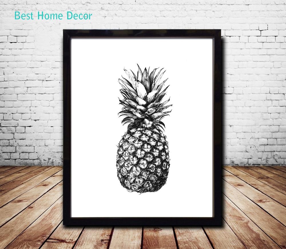 Pineapple art poster nursery fine art paper ananas for Inspiration for home decor