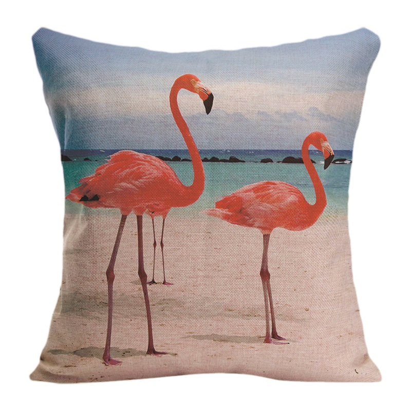Throw-Pillow Decorative Sofa Customize Cotton Cute Gift Linen Red Flamingo for High-Quality