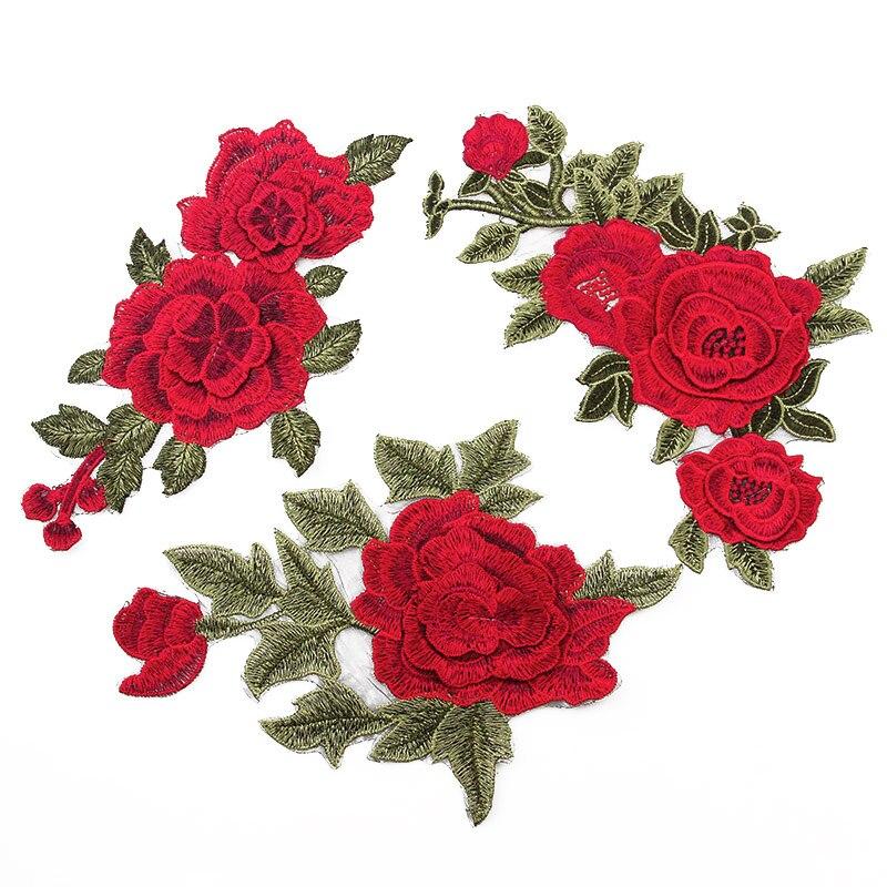 321075395 1 piezas 3D flor parche Ropa Accesorios flores rojas bordado Applique  Decoración Accesorios Hotfix Jean parches
