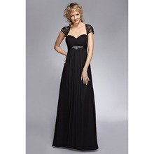 elegant sweetheart new cap sleeve back v-neck bridesmaid dresses sleeveless a-line beaded lace dress with sashes qq12
