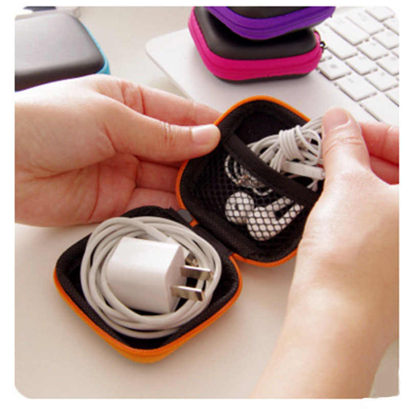 Case for Earphones Mini Zippered Round Storage Hard Bag Headset box for Earphone Case SD TF Cards Earphone Bag randomly 80