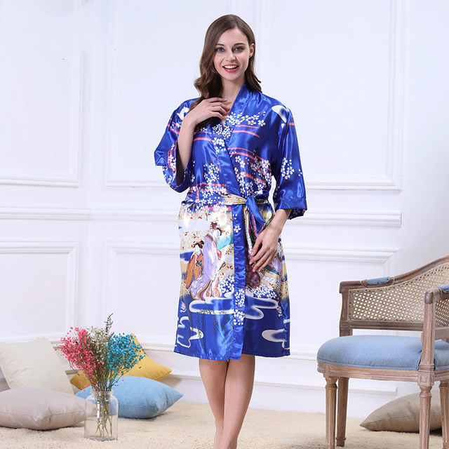 Online Shop Chinese Silk Dressing Gown Flowers Satin Bathrobe Long ...