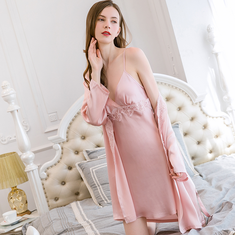 100% Silk Home Dress Sets for Women Nightgown Sleepwear Robes with Camisole V neck Sleep Lounge Ladies Bedgown Nightshirt Pajams