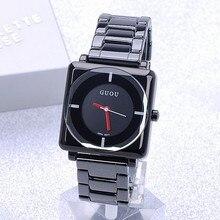 Дамы Моды Часы QuartzClock Высочайшее Качество Водонепроницаемость женские Квадратных Полный Черный Стальной Высококлассные Минималистской Моды Часы