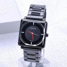 Ladies Fashion Clock QuartzClock Top Quality Water Resistant Women's Square Full Black Steel Upscale Minimalist Fashion Watches