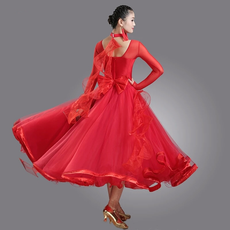 New 4 Color Women Ballroom Dance Dress Standard Ballroom Dance Skirts Ladin Dresses Vestido De Formatura Waltz Dance Dress