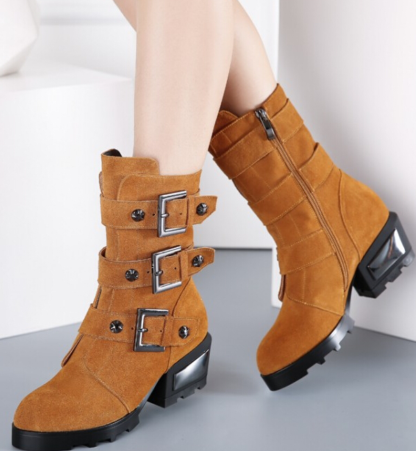 Women Spring Autumn Thick Mid Heel Genuine Leather Flock Side Zipper Buckle Rivets Fashion Ankle Boot Size 34-39 SXQ0929 women spring autumn thick mid heel genuine leather round toe 2015 new arrival fashion martin ankle boots size 34 40 sxq0902