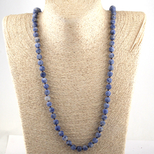Drop Shipping Fashion Jewelry Frosted Onyx Semi Precious Stones Bead 88CM Long Knotted Necklace