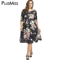 PlusMiss Plus Size 8XL 7XL Floral Print Vintage Retro Party Dress Women Clothing Half Sleeve A