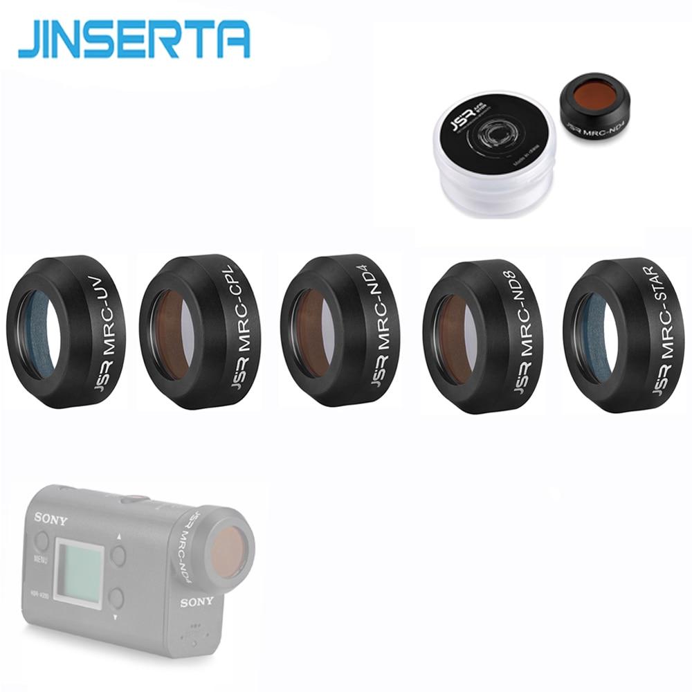 JINSERTA Filter for Sony Action Camera UV ND4 ND8 CPL Star Cross Hard Lens Protector Filter for Sony AS50 AS15\300\300R\50R massa cross screen star filter for slr cameras 72mm