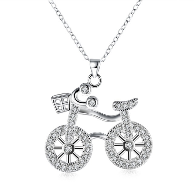 Aliexpress buy silver 925 jewelry cute bicycle pendant silver 925 jewelry cute bicycle pendant necklace women fashion white gold costume fine 3535 aloadofball Gallery