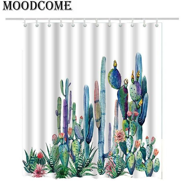 2018 Cactus Shower Curtain Succulent Plants Bath Green Fabric Bathroom