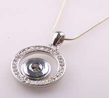 Free shipping snake Chain Necklace with crystal circle DIY Fashion metal button Jewelry(China)