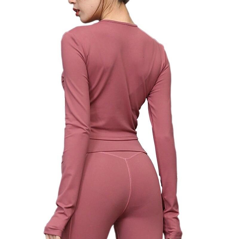 @1  Голые чувства Женщины Yoga Sport Top 8 Цветов Поцелуй Кожа Бег Бег Футболка С Длинным Рукавом Фитнес ✔