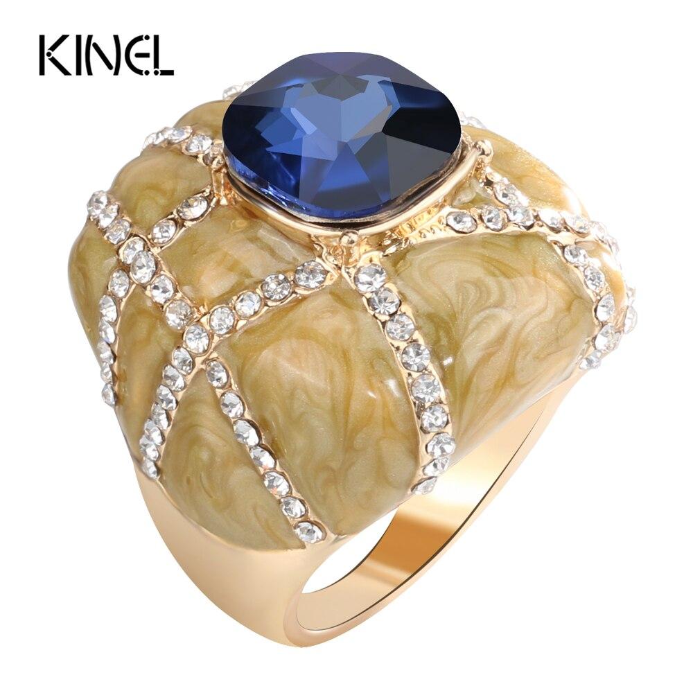 Kinel Unique Big Ring Dubai Fashion Gold Enamel Rings For