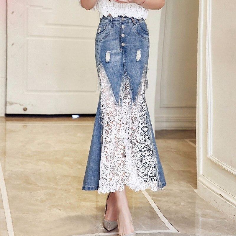 2019 Spring summer Fashion Slim Mermaid Style Bodycon High Waist Long Denim Skirt Women Lace Skirt