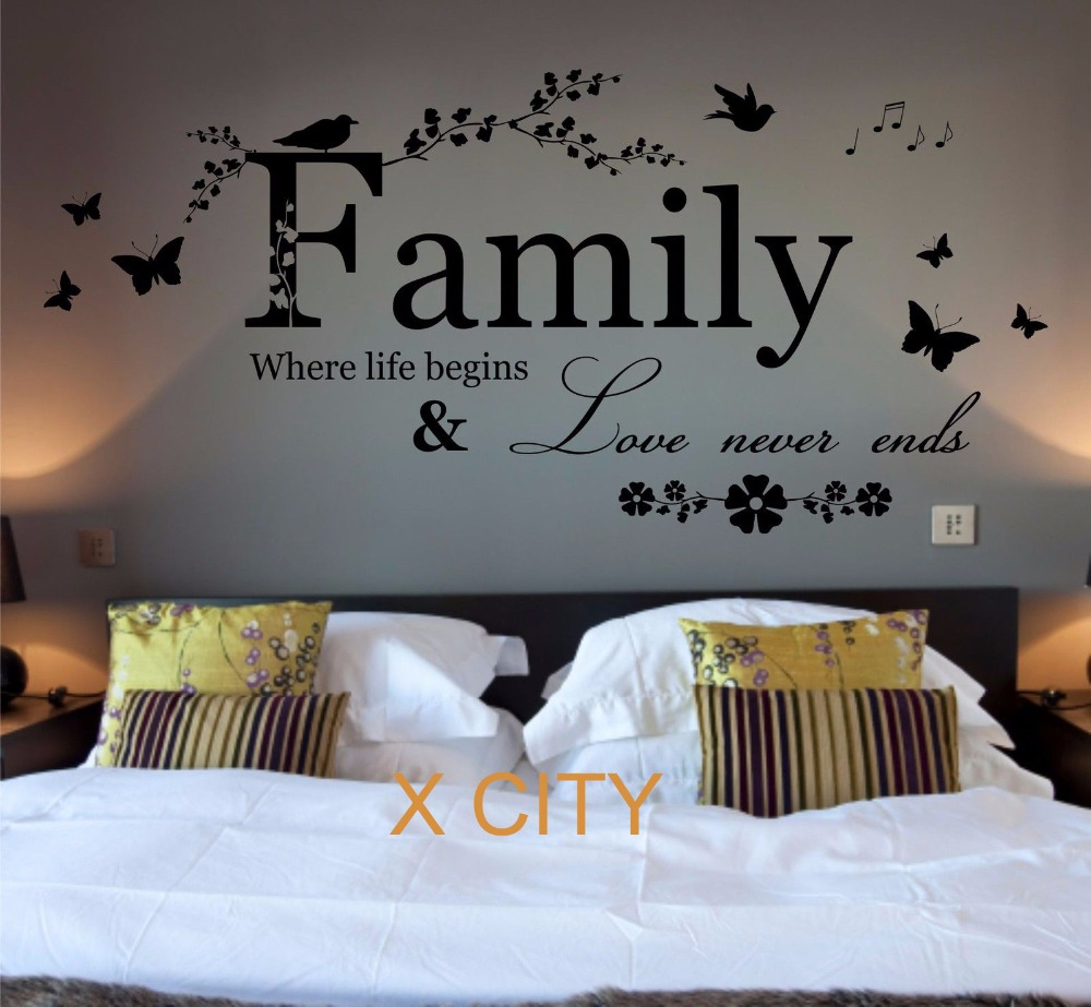 US $8.24 25% OFF|Family Where Life Begins Quote WORDS BEDROOM WALL ART  STICKER REMOVABLE VINYL TRANSFER DECAL HOME DECORATION S M L-in Wall  Stickers ...