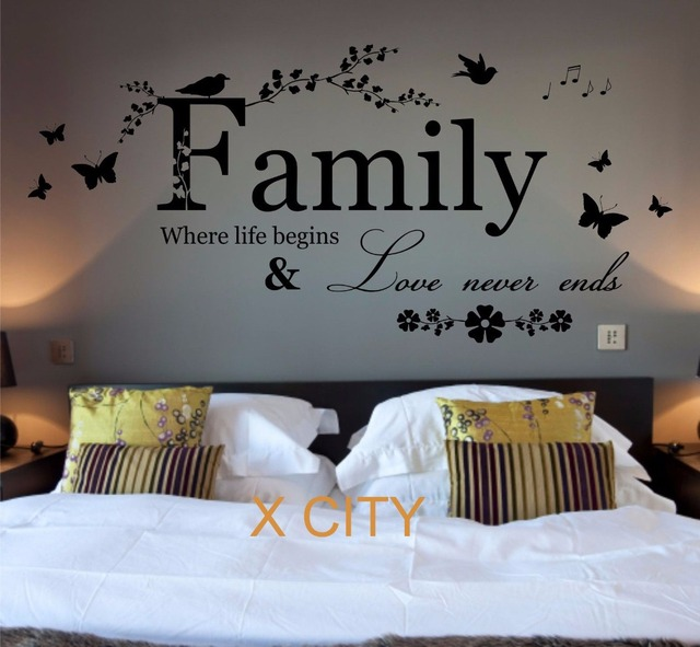 Family Where Life Begins Quote WORDS BEDROOM WALL ART STICKER ...