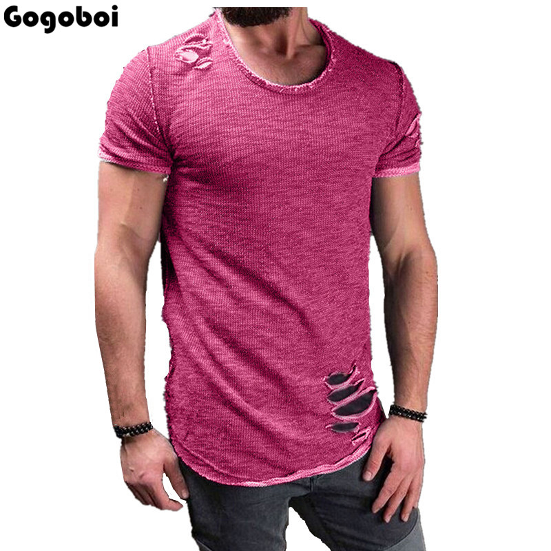 New Hot Sale Ripped Men Slim Fit Cotton Tops T-Shirt Short Sleeve Casual O Neck Tee Shirt