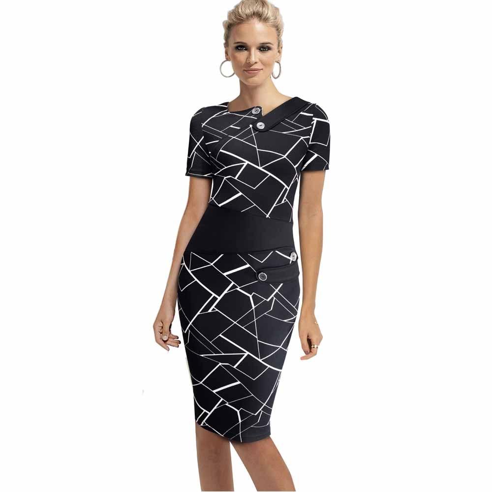 Черное платье туника для женщин Формальная работа Офис Оболочка Лоскутная линия Асимметричная шея длина до колена размера плюс карандаш платье B63 B231 - Цвет: Black and stripe