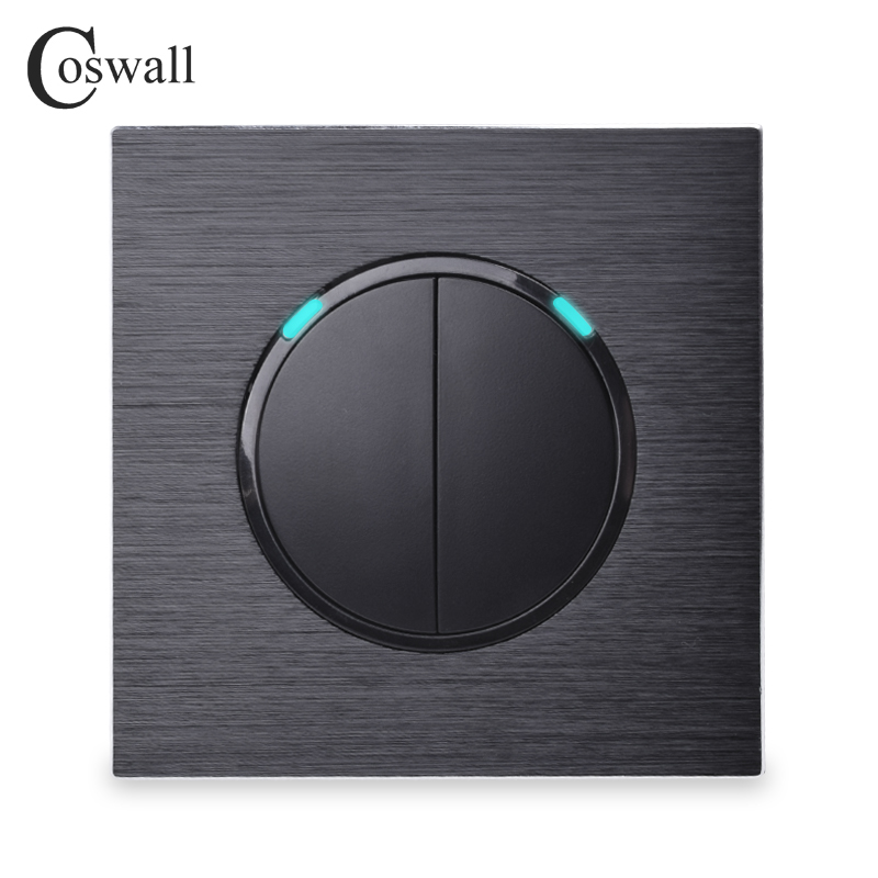 Coswall Luxurious 2 Gang 2 Way Random Click Push Button Wall Light Switch With LED Indicator Black Aluminum Metal Panel все цены