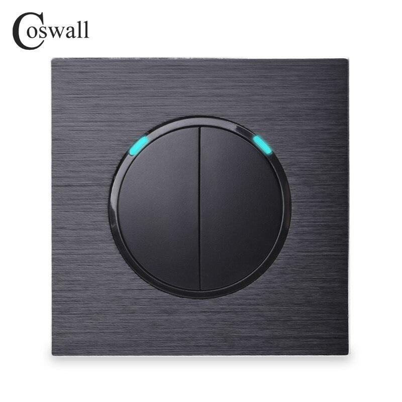 Coswall luxuoso 2 gang 2 way aleatório clique em/fora passagem através do interruptor de luz de parede comutado led indicador painel de alumínio preto
