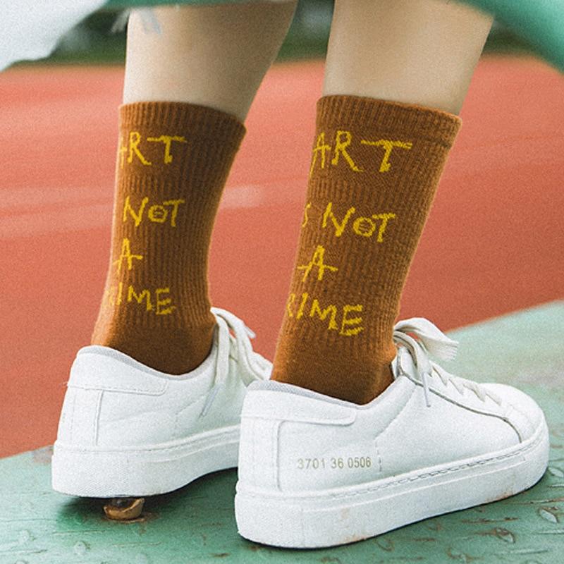 Street Style Harajuku Socks European Fashion Cotton Casual Women Letters Socks School Girls Warm Custom Hosiery Sock
