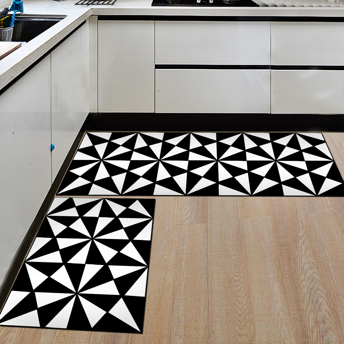 White Kitchen Floor Mats: Zeegle 2pcs/set Black And White Flannel Floor Mats For