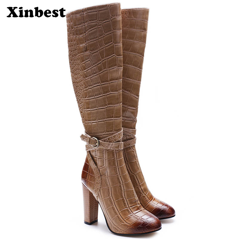 купить Xinbest New Women Boots Round Toe Womens Winter Boots Square heel Women High Heel Shoes Casual Fashion Women Knee High Boots по цене 6257.74 рублей