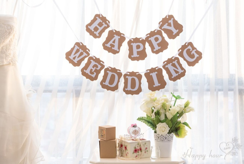 Free Shipping 1 X Happy Wedding Banner Wedding Party Garland Photo Props Decoration Propping Prop Sizesprop Knife Aliexpress
