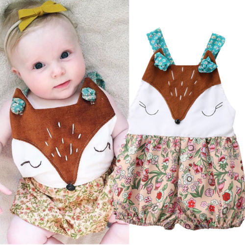 Pudcoco Sweet Infant Baby Girl Boys Sleeveless Cartoon Fox   Romper   Newborn Baby Overalls Jumpsuit Outfits Sunsuit 3-18M