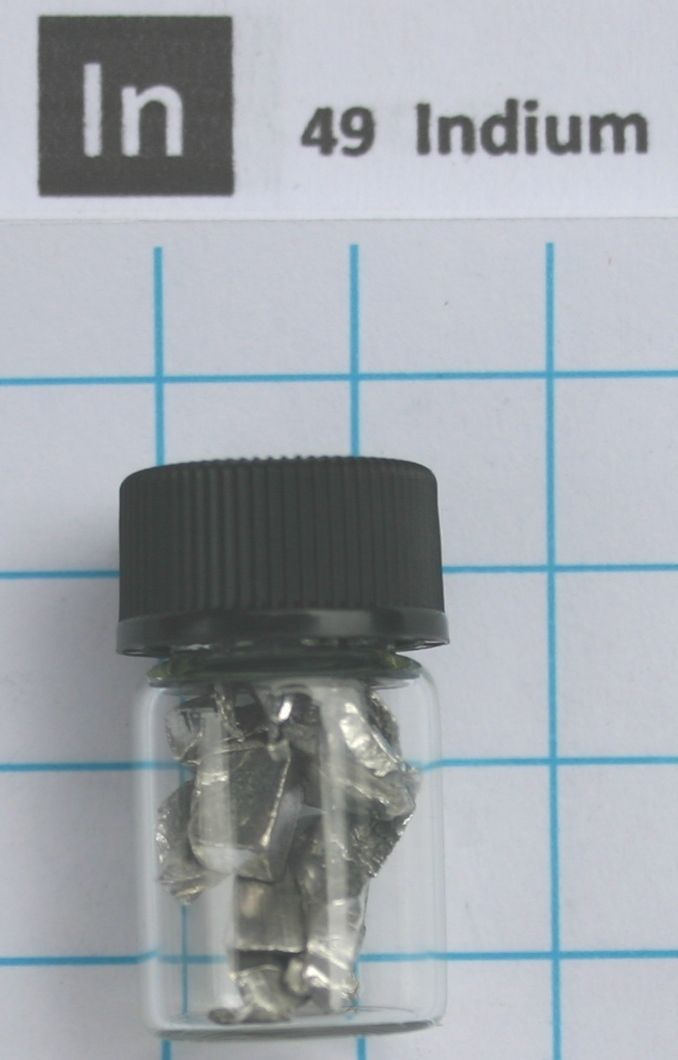 5g 99,995% Indium Metal pieces in glass vial - Pure Element 49 sample indium metal element 49 sample 5 grams shiny pieces 99 995% in labeled glass vial