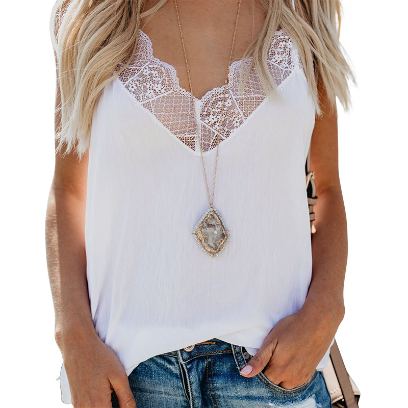 Summer Women Lace Patchwork   Tank     Top   2018 Casual V-Neck White   Tops   Women Sexy Beach   Top   Female Camisole thin   tops   women