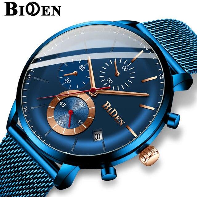 Men Watch Top Luxury Brand BIDEN Mens Business Fashion Casual Wristwatch Calendar Multifunctional Waterproof watch for men clock