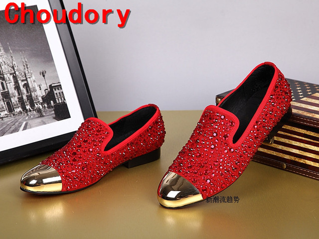 Choudory gold toe men leather dress shoes rhinestone luxury black spiked  loafers red wedding shoes oxfords d60aff5f67ca