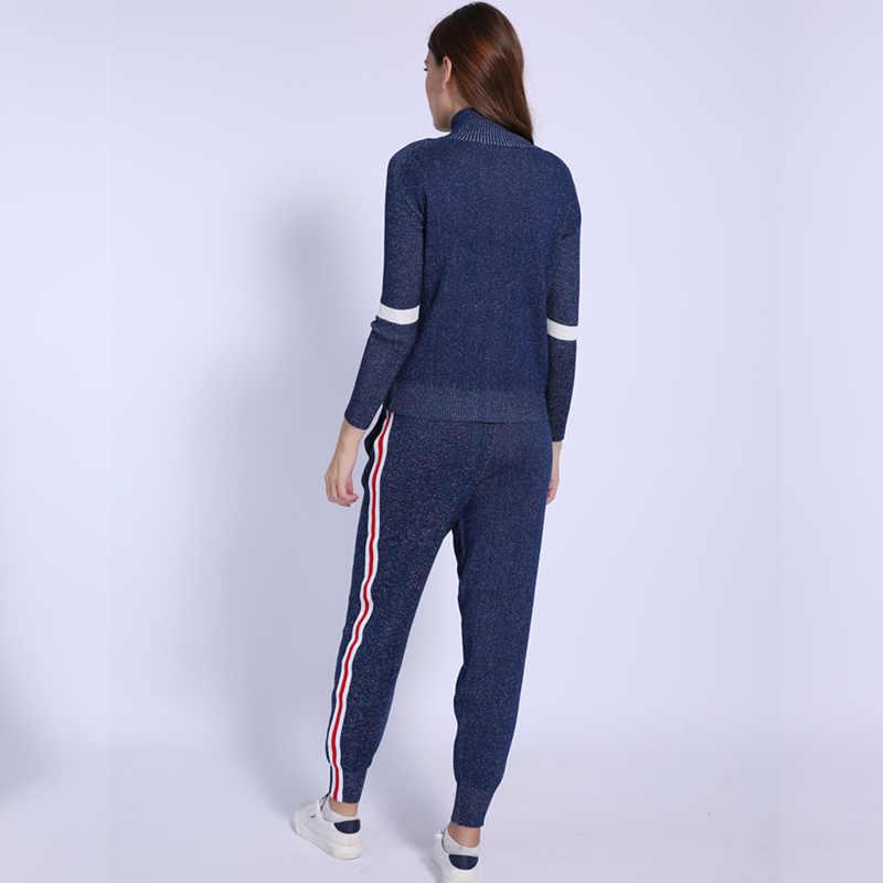 ... Women Tracksuit 2018 Autumn Casual Turtleneck Knit Sportwear Long  Sleeve 2 Piece Pants Sets Stripe Knitting ... 4ff6de069