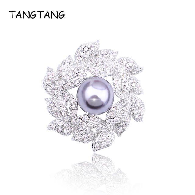 TANGTANG 925 Silver Brooches Flower For Women Female AAA Cubic Zirconia Scarf Clothes Jacket Clamp Pins Accessories Wholesale